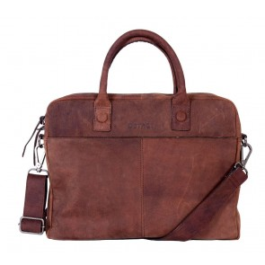 DSTRCT Wall Street Business Bag Brown 11-14 inch Voorkant
