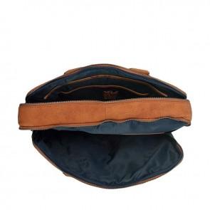 DSTRCT Wall Street Laptop Bag Cognac 13-15 inch Binnenkant