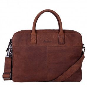 DSTRCT Wall Street Business Laptop Bag Brown 13-15 inch Voorkant