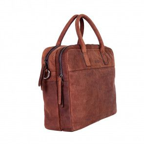 DSTRCT Wall Street Business Laptop Bag Brown 13-15 inch Voor- zijkant