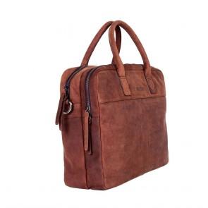DSTRCT Wall Street Business Laptop Bag Brown 13-15 inch Voor- zijkant