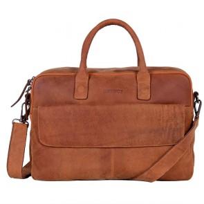 DSTRCT Wall Street Business Laptop Bag Cognac 15-17 inch Voorkant