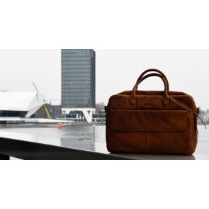DSTRCT Wall Street Business Laptop Bag Cognac 15-17 inch Lifestyle