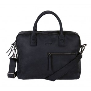 DSTRCT Wall Street Business Bag Double Zipper Black 15 inch Voorkant