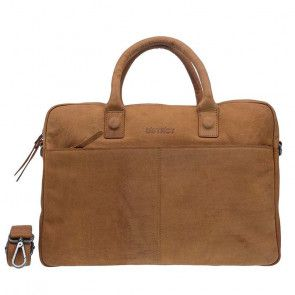 DSTRCT Wall Street Business Bag Cognac 15-17 inch Voorkant