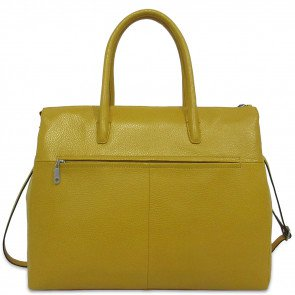Gigi Fratelli Dames Leren Laptoptas 17 inch Romance Business ROM8007 Yellowgold Achterkant