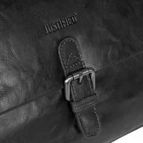 Justified Leren Laptoptas 15 inch Everest Zwart Detail