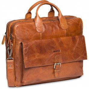 Justified Leren Laptoptas 15 inch Everest 2-Vaks Cognac Voorkant