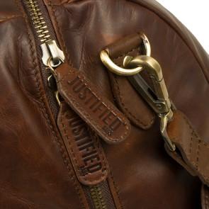Justified Leren Weekendtas Laptoptas 13 inch Max Cognac Detail