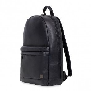 Knomo Albion Leather Laptop Backpack Black 15 inch Voor- zijkant