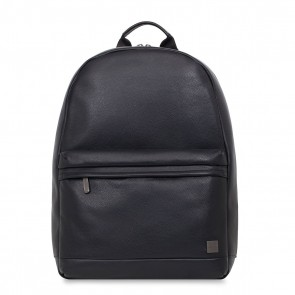 Knomo Albion Leather Laptop Backpack Black 15 inch Voorkant