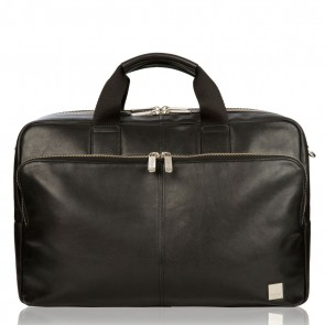 Laptoptas Amesbury Leather Briefcase Black 15.6 inch Voorkant