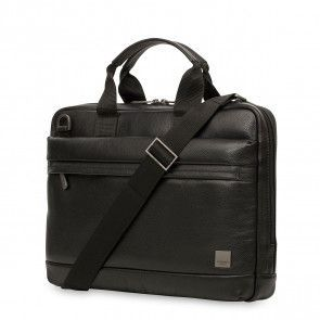 Knomo Foster Leather Laptop Briefcase Black 14 inch Voorkant met schouderband