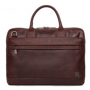 Knomo Foster Leather Laptop Briefcase Brown 14 inch Voorkant