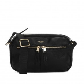 Knomo Dames Leren Cross Body Mayfair Luxe Brook Zwart Voorkant