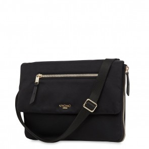 Knomo Elektronista Digital Clutch Bag Nylon Black Voorkant met schouderriem