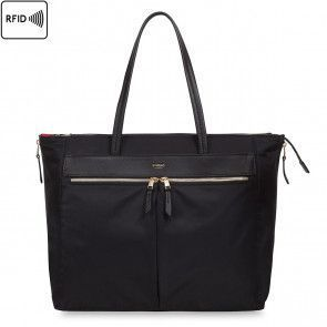 Knomo Grosvenor Place Expanable Tote Black 15 inch Voorkant