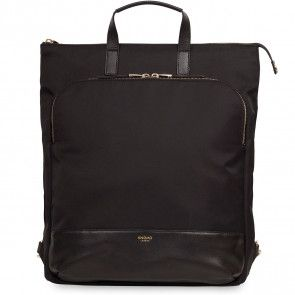 Knomo Harewood Leather Backpack Black 15 inch Voorkant