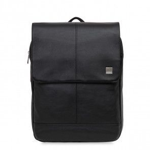 Knomo Hudson Leather Backpack Black 15 inch Voorkant