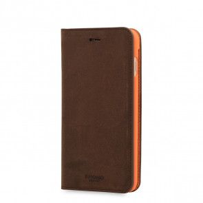 Knomo iPhone 8/7 Plus Hoesje Leather Premium Folio Brown Voorkant