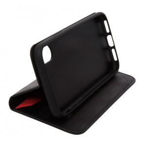 Knomo iPhone X Leather Premium Folio Black Kijkstand