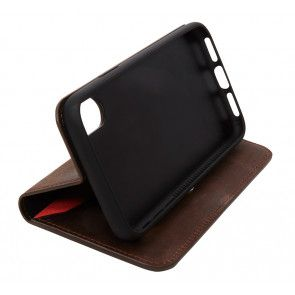 Knomo iPhone X Leather Premium Folio Brown Kijkstand