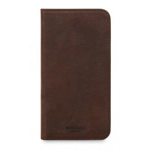 Knomo iPhone X Leather Premium Folio Brown Voorkant