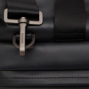 Knomo Leren Weekendtas 15.6 inch Milton Zwart Detail