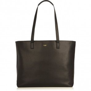 Laptoptas Knomo Maddox Leather Zip Tote Black 15 inch Voorkant
