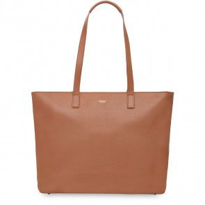 Laptoptas Knomo Maddox Leather Zip Tote Caramel 15 inch Voorkant