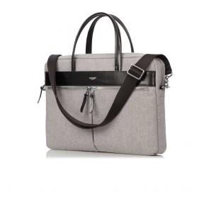 Knomo Hanover Slim Briefcase Grey 14 inch Voorkant met schoudderriem