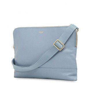 Knomo Molton Leather Cross Body Clutch Lido Voorkant met schouderriem
