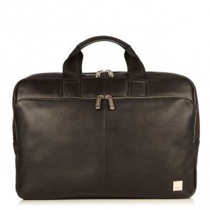 Knomo Newbury Leather Briefcase Black 15 inch Voorkant