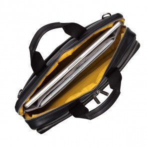 Knomo Newbury Leather Briefcase Black 15 inch Open
