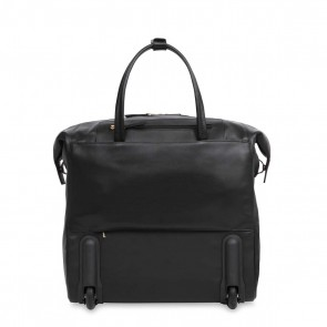Knomo Sedley Leather Trolley Tote Black 15 inch Achterkant