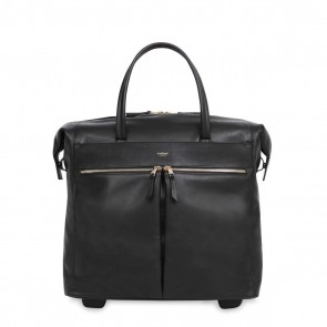 Knomo Sedley Leather Trolley Tote Black 15 inch Voorkant