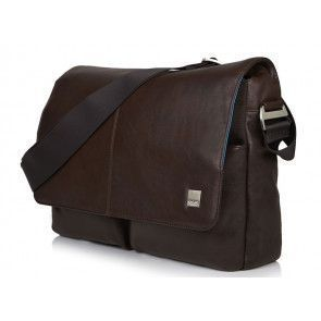 Laptoptas Knomo Kobe Soft Leather Messenger Brown 15 inch Voorkant