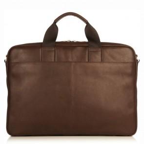 Laptoptas Knomo Durham Full Leather Brief Brown 15 inch Achterkant