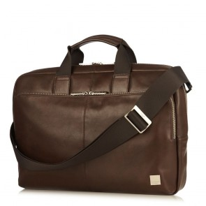 Laptoptas Knomo Newbury Leather Briefcase Brown 15 inch Voorkant met schouderband