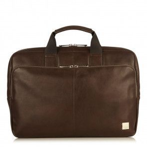 Laptoptas Knomo Newbury Leather Briefcase Brown 15 inch Voorkant