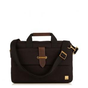 Laptoptas Knomo Par Slim Canvas Briefcase Black 13 inch Voorkant