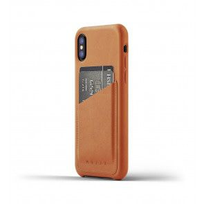 Mujjo Leather Wallet Case iPhone X / XS Tan Achterkant