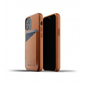 Mujjo Leren Wallet Case iPhone 12 mini Hoesje Tan