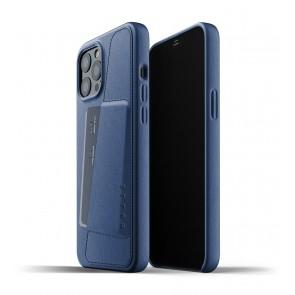 Mujjo Leren Wallet Case iPhone 12 Pro Max Hoesje Blauw