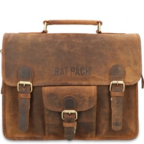 Rat Pack by Orange Fire Leren Aktetas 13 inch Rat Pack 1-Vaks OF 557/13 Bruin Schouderband