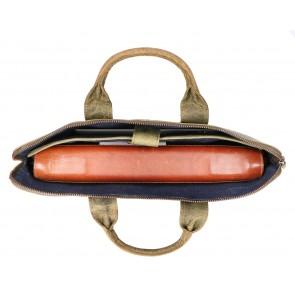 Rat Pack by Orange Fire Leren Handtas/Sleeve 15.6 inch Rat Pack OF 555/15 Groen Open