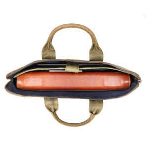 Rat Pack by Orange Fire Leren Handtas/Sleeve 17 inch Rat Pack OF 555/17 Groen Open