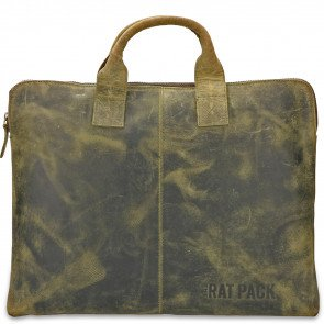 Rat Pack by Orange Fire Leren Handtas/Sleeve 15.6 inch Rat Pack OF 555/15 Groen Voorkant