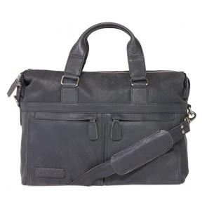 Plevier Crunch Leather Business Laptoptas Zwart 15.6 inch Voorkant