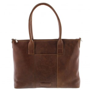 Plevier Dames Leather Tote Businessbag 483 Cognac 15 inch Voorkant